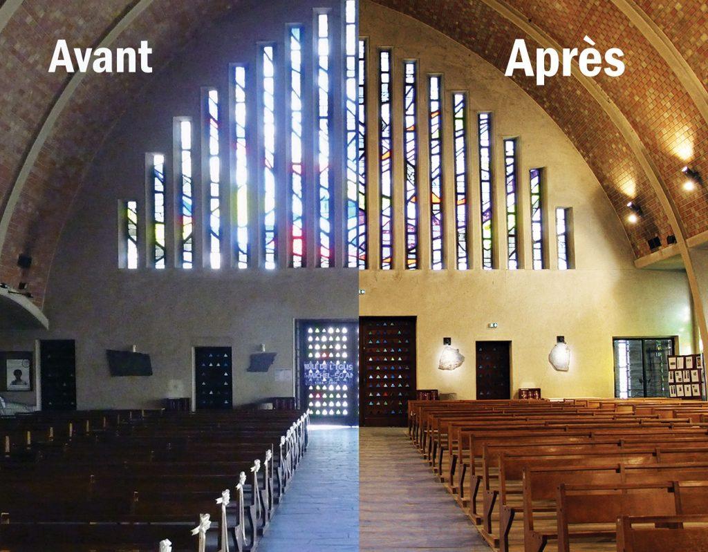 La nef de l'église Saint-Michel de Goussainville avant-après les travaux