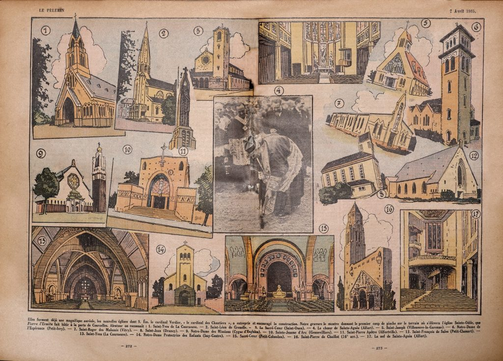 Page de Pèlerin représentant des églises emblématiques des Chantiers