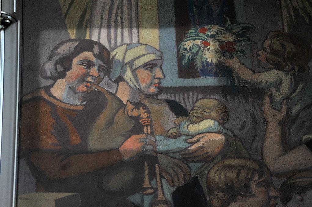 Essai de nettoyage sur les fresques intérieures de Maurice Denis.