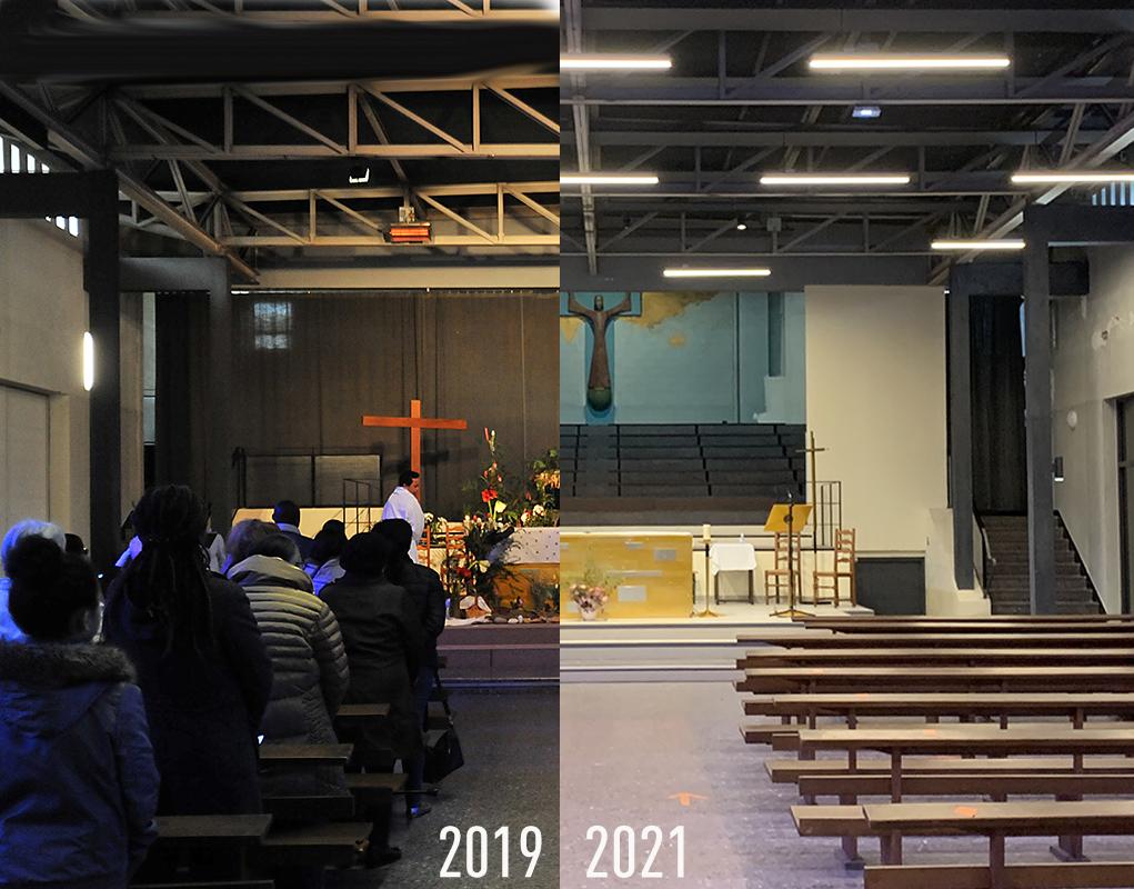Vue avant/après travaux de la nef