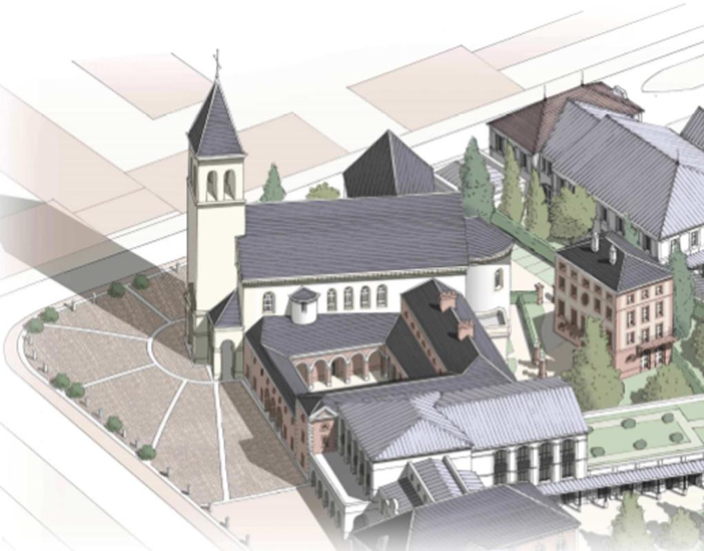 L'église Saint-Colomban est adossée à un centre scolaire.