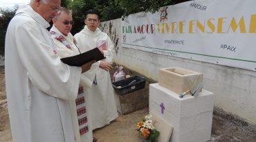 24 juin 2017, pose de la première pierre de l'église Saint-Joseph de Montigny-lès-Cormeilles