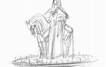 Dessin statue sainte Jeanne de Chantal par Jean-Louis Sauvat