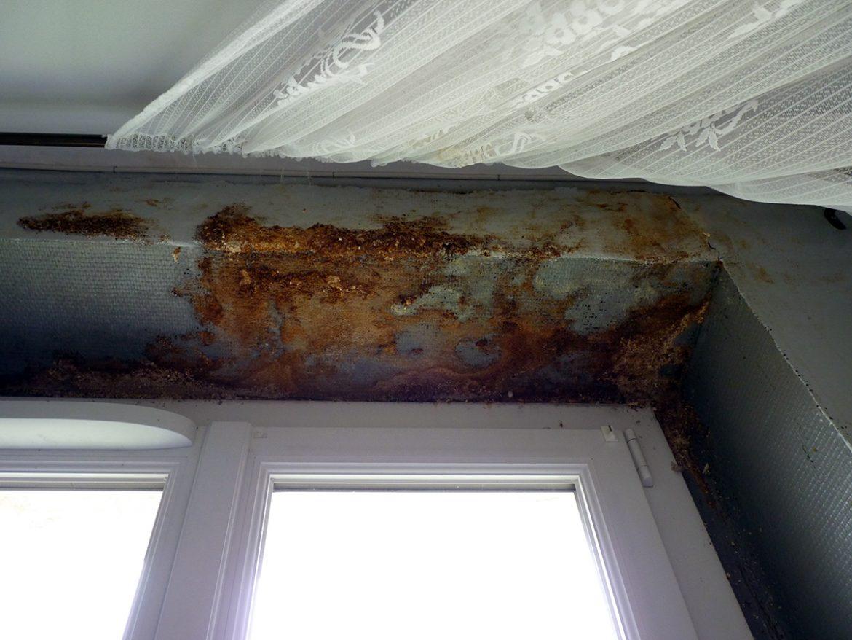 Des infiltrations sur la haut de la façade ont détérioré le linteau d'une fenêtre