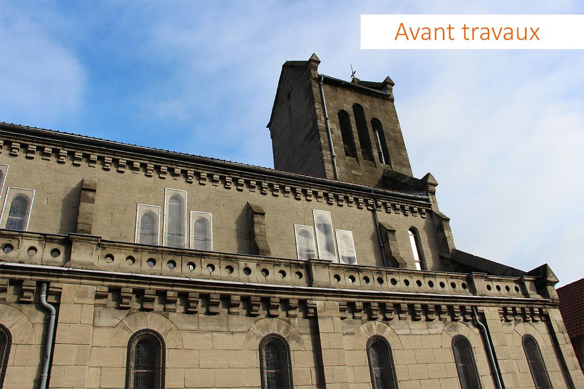 Image de la façade sud de l'église avant travaux.