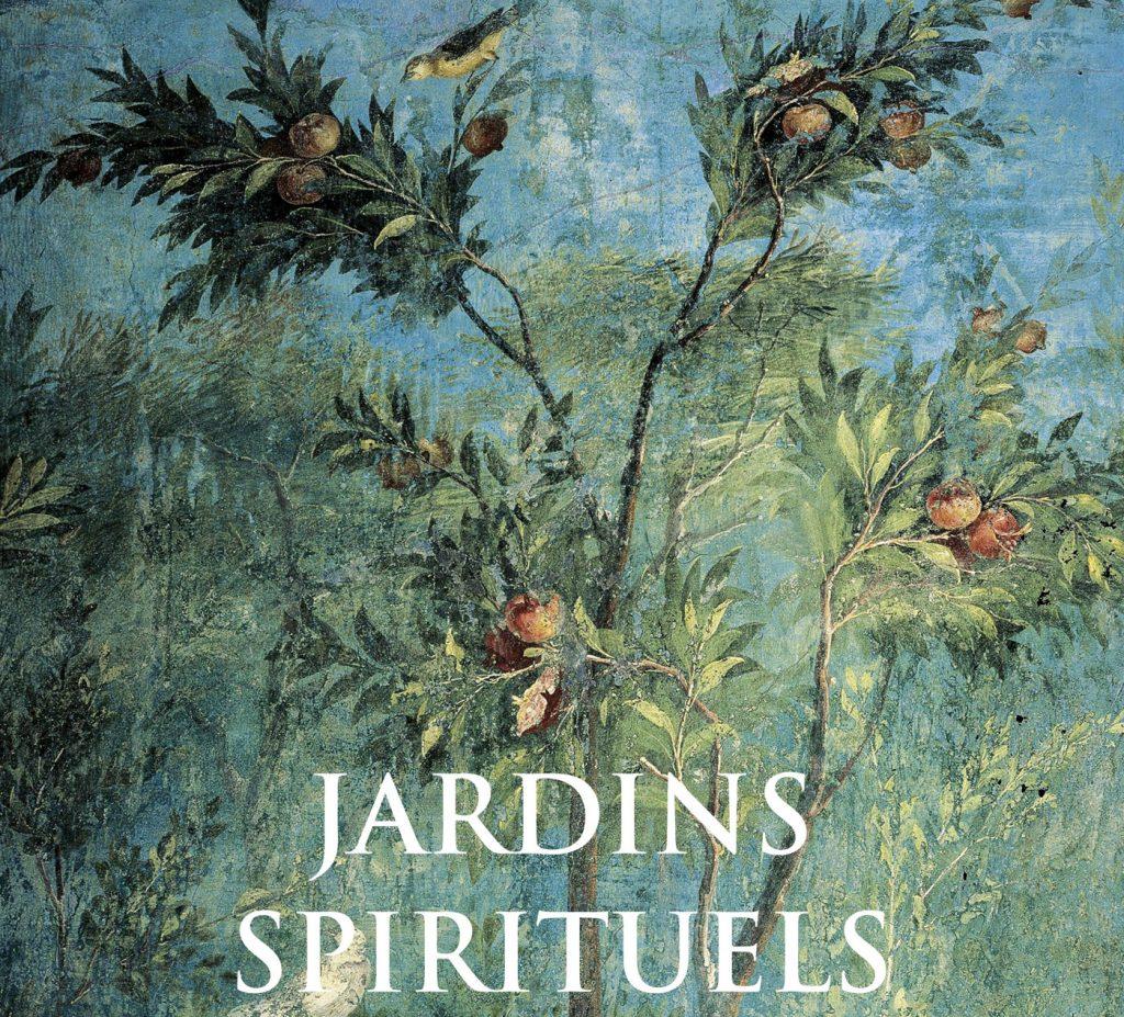 """Détail de la couverture de l'ouvrage d'Anne Ducrocq """"Jardins spirituels"""", paru fin 2018 aux éditions Grund."""