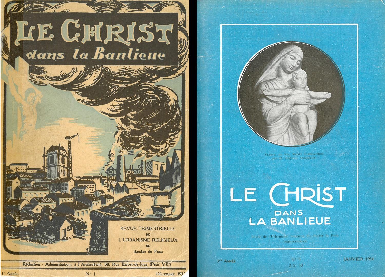 Couverture du premier numéro de la revue Le Christ dans la banlieue, ancêtre de la Revue des Chantiers du Cardinal. Couverture revisitée en 1934.