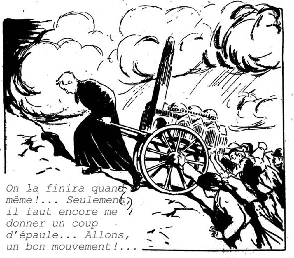 Dessin humoristique paru dans le journal La Plaine montrant Mgr Edmond Loutil, dit Pierre Lermite,.