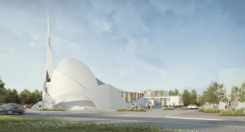 La future église Saint-Joseph-Le-Bienveillant à Montigneux-Le-Bretonneux (Yvelines), projet de l'agence AGAPÉ.
