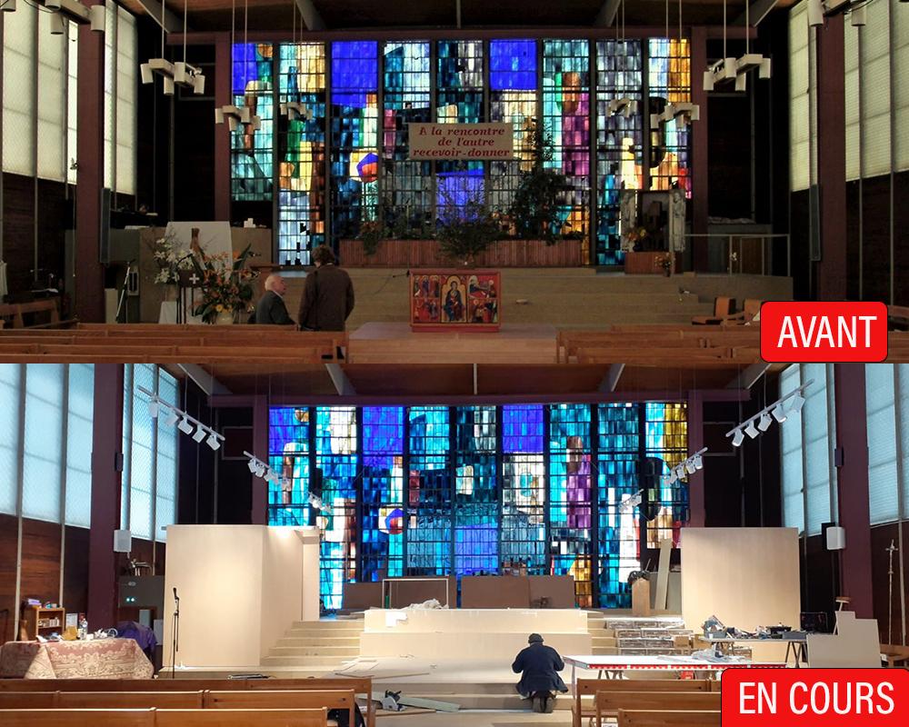 Vue avant/après des travaux d'aménagement du chœur de l'église.